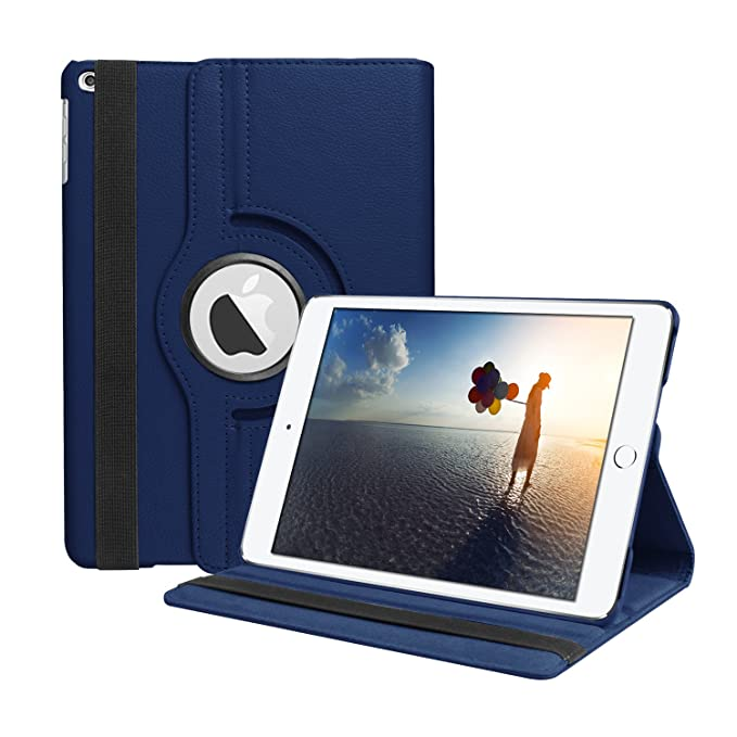 SYNTAK iPad 9.7 2018 / 2017 Case,iPad 6th Generation Cases,iPad 5th Generation Case,360 Degree Rotating Stand Folio Case Heavy Duty PU Leather Full ...