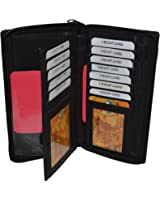 """Leatherboss All Around Zipper Checkbook Holder with Pull Out Checkbook - Black 7"""" X 3.3/4"""""""