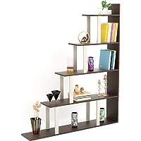 Bluewud Wolabey Ladder Style Bookshelf (Frosty White & Wenge)