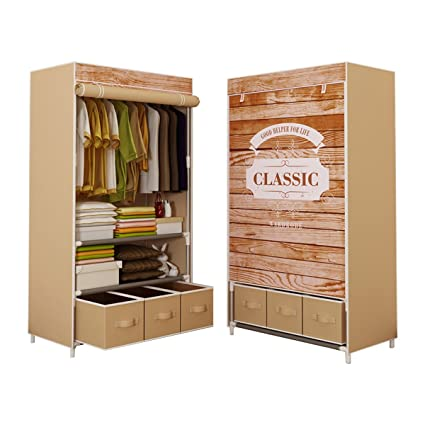 ASSICA Portable Clothes Closet Rolling Door Wardrobe Sturdy Rust Proof  Stainless Steel Frame Non