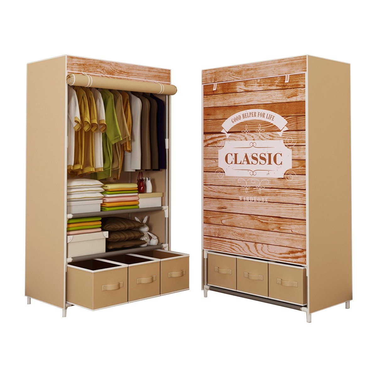 ASSICA Portable Clothes Closet Rolling Door Wardrobe Sturdy Rust-Proof Stainless Steel Frame Non-Woven Fabric Storage Organizer with Three Drawer Boxes (Yellow)