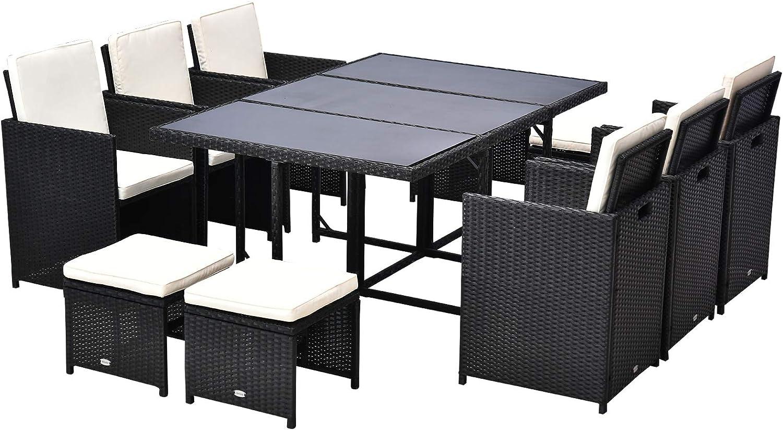 Amazon Com Outsunny 11 Piece Outdoor Pe Rattan Wicker Table And Chair Patio Furniture Set Black Garden Outdoor