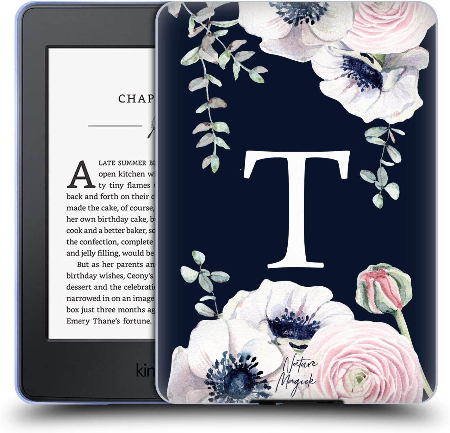 Head Case Designs Officially Licensed Nature Magick Letter T Floral Monogram Navy Flowers 2 Soft Gel Case Compatible with Kindle Paperwhite 1/2 / 3