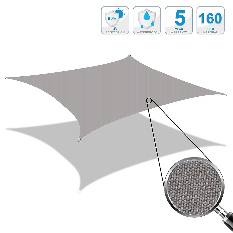 Cool Area Tenda a Vela Impermeabile Rettangolare 2 x 3 Metri Protezione Raggi UV, Grigio ESSWR23-GRY