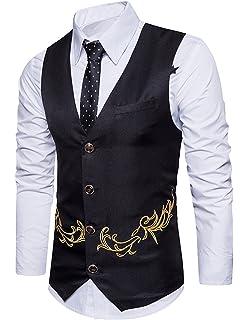 Boom Fashion Gilet panciotto uomo sartoriale elegante casual cerimonia  Matrimonio Giacca Slim Fit ricamo Blazer dddb618e89a
