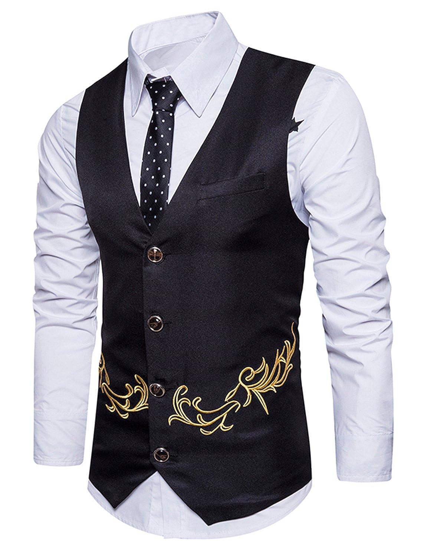Boom Fashion Gilet panciotto uomo sartoriale elegante casual cerimonia Matrimonio Giacca Slim Fit ricamo Blazer UUSIT082915