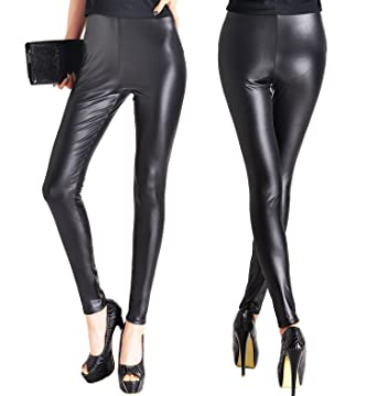 VAMEI Faux Leather Leggings Sexy Women Waist Shiny Pants at Amazon ...