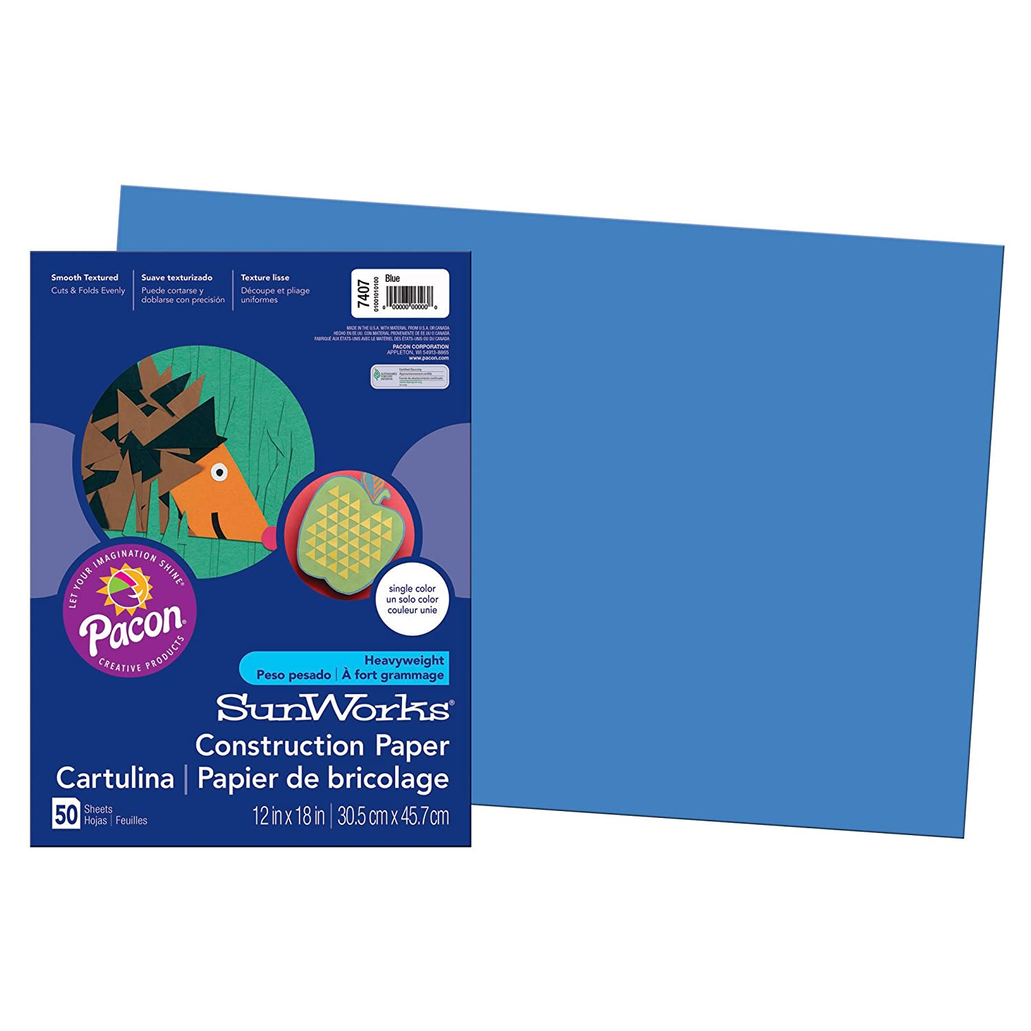 Pacon PAC7407 SunWorks Construction Paper, 12
