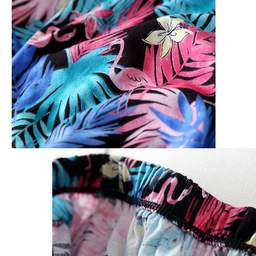 ENJOYNIGHT Women\'s Print Tee Sleepwear and Shorts Nightgown Pajama Set (Large, colorful Feather Set)