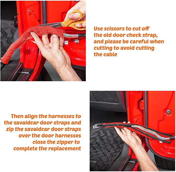 Interior Accessories Red Savadicar Door Limiting Straps Swing Door Check Limiter for 2007-2018 Jeep Wrangler JK JKU 2//4 Door with Wire Protecting Harness