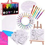 Paint Set for Kids,47 Piece Kids Art Set Paint Easel Includes 24 Non Toxic Paints,Table Top Easel,Art Smock,6 Paint Brushes,1