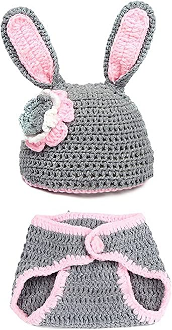Newborn Girl Infant Rabit Knit Crochet Picture Outfit Photography Prop Clothes