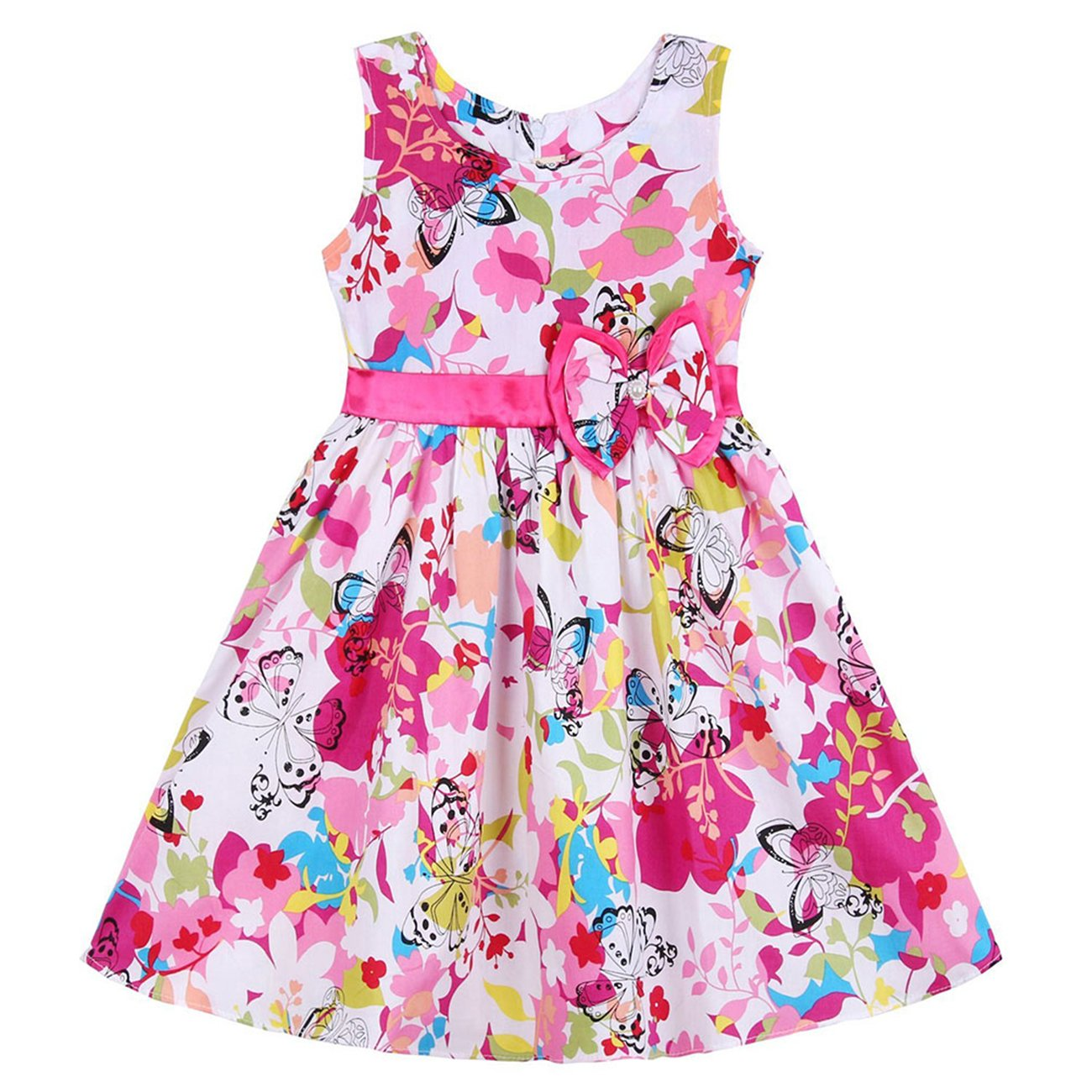 Nichna Little Girls Summer Sleeveless Floral Print Party Sundress with Bowknot Butterfly 7-8