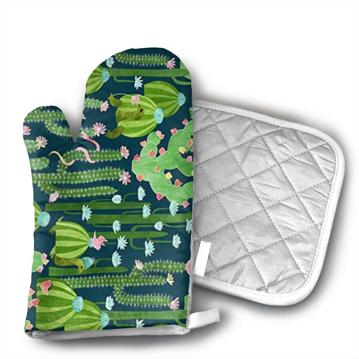 The Cactus Garden of Earthly Delights Oven Mitt Pot Holder Set Kitchen Quilted Cotton Polyester LiningOven Mitt with