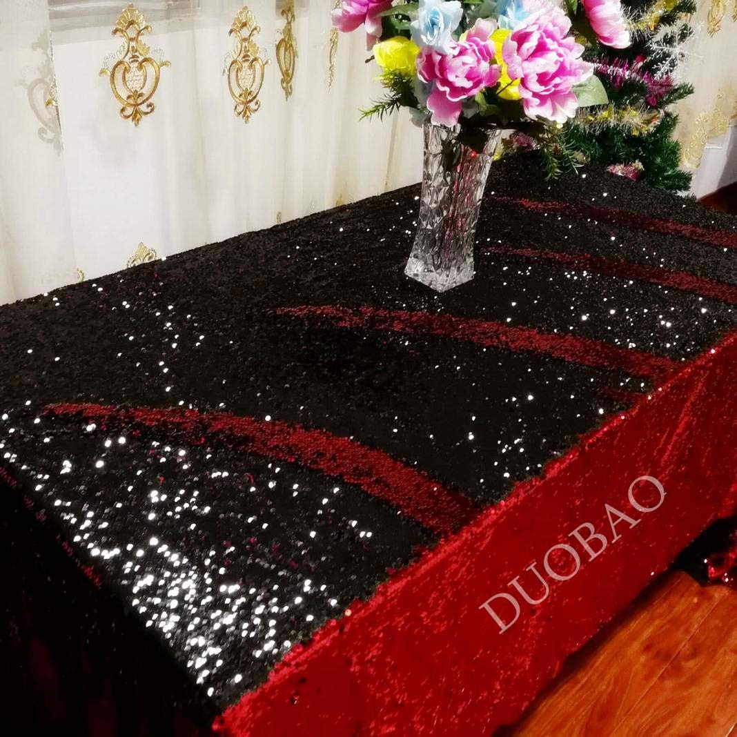 DUOBAO 72x108-Inch Rectangle Sequin Tablecloth Red to Black Glitter Table Cloths Mermaid Sequin Table Cover for wedding/party/birthday-0612H