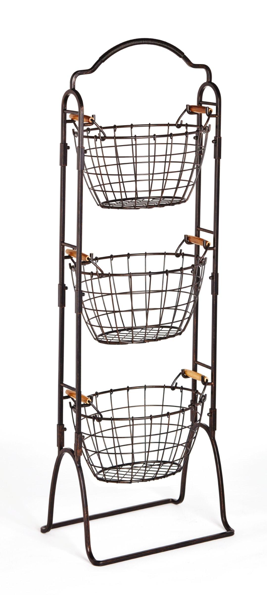 Gourmet Basics by Mikasa 5184916 Harbor Adjustable 3-Tier Metal Floor Standing Fruit/Home Storage Basket, Antique Black