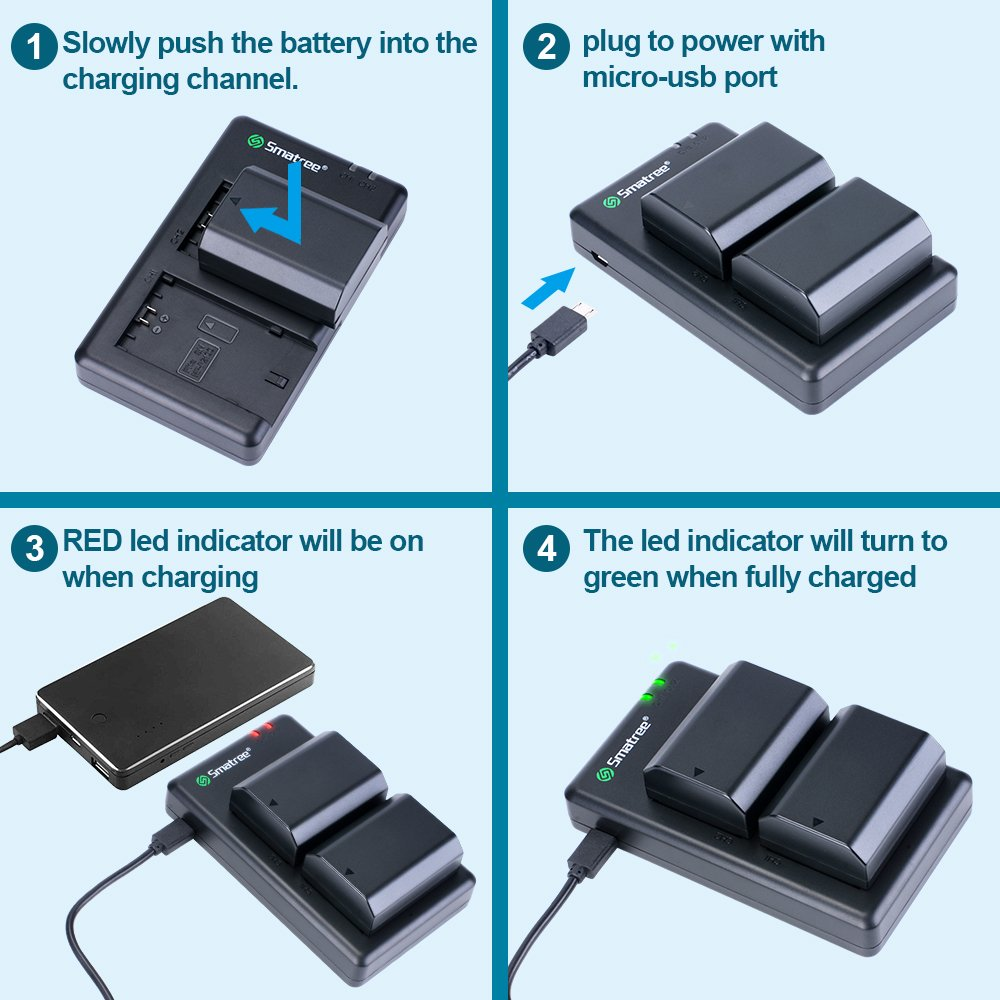 Smatree Np Fz100 Rechargeable Battery 2 Pack Charger For Sony Bc Qz1 Alpha A7 Iii A7r A7r3 A9sony 9r A9r 9s