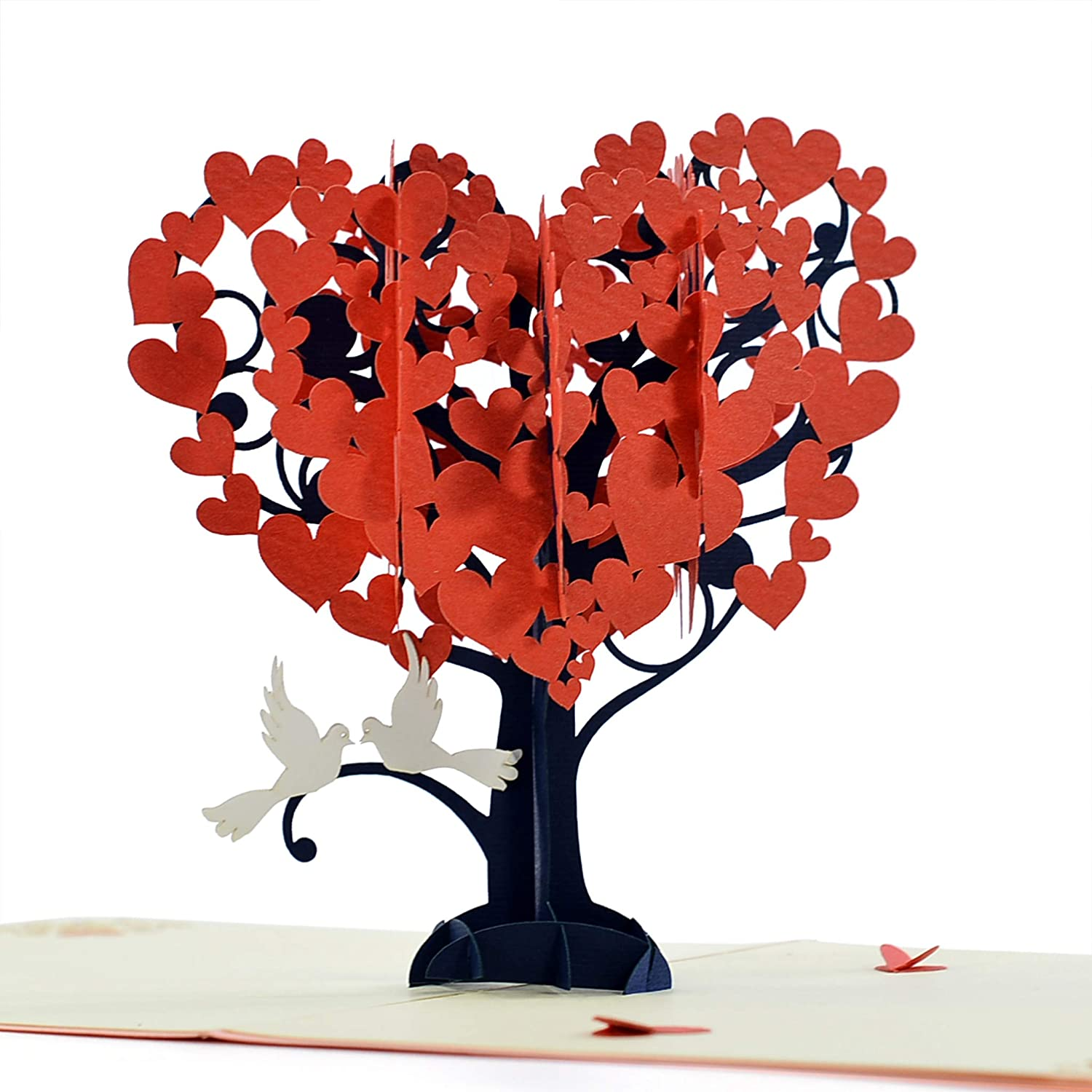 Cutepopup Love Pop Up Cards With Unique Loving Birds Heart Tree Design Sophisticated Details Come In Shining Envelope The Perfect Handmade Gifts For Your Lover In Valentine Or Love Anniversaries Amazon In