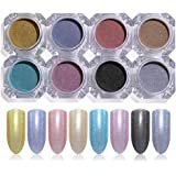 LILYCUTE Holographic Nail Powder Laser Glitter Nail Art Decorations Manicure Chrome Pigment 8 Boxes