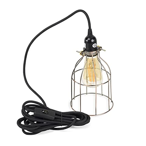 Vintage Design Curved Metal Wire Cage Pendant Lamp with 15\' Plug-in ...