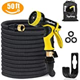 "Garden Hose Pipe - 50ft Expandable Water Hose with Double Latex Core, 3/4"" Solid Brass Fittings,Magic Water Hose - Flexible Expanding Hose with 9 Function Spray Nozzle - Free Storage Bag & Hose Hanger"