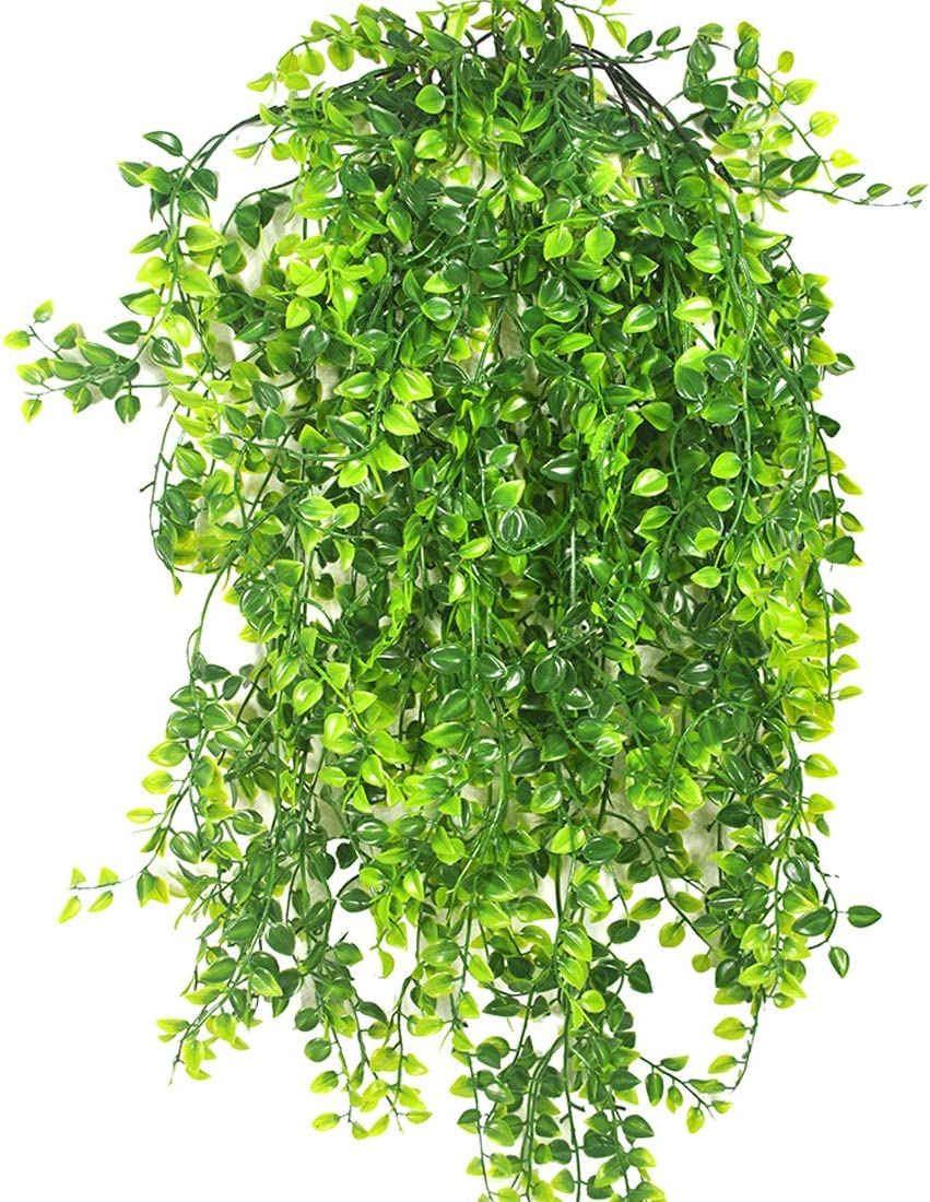 Bird Fiy Artificial Vine Fake Plants Vines Plastic Greenery Leaves Garland Faux Silk Willow Rattan Wicker Twig for for Home Wall Indoor Outdside Hanging Basket Décor