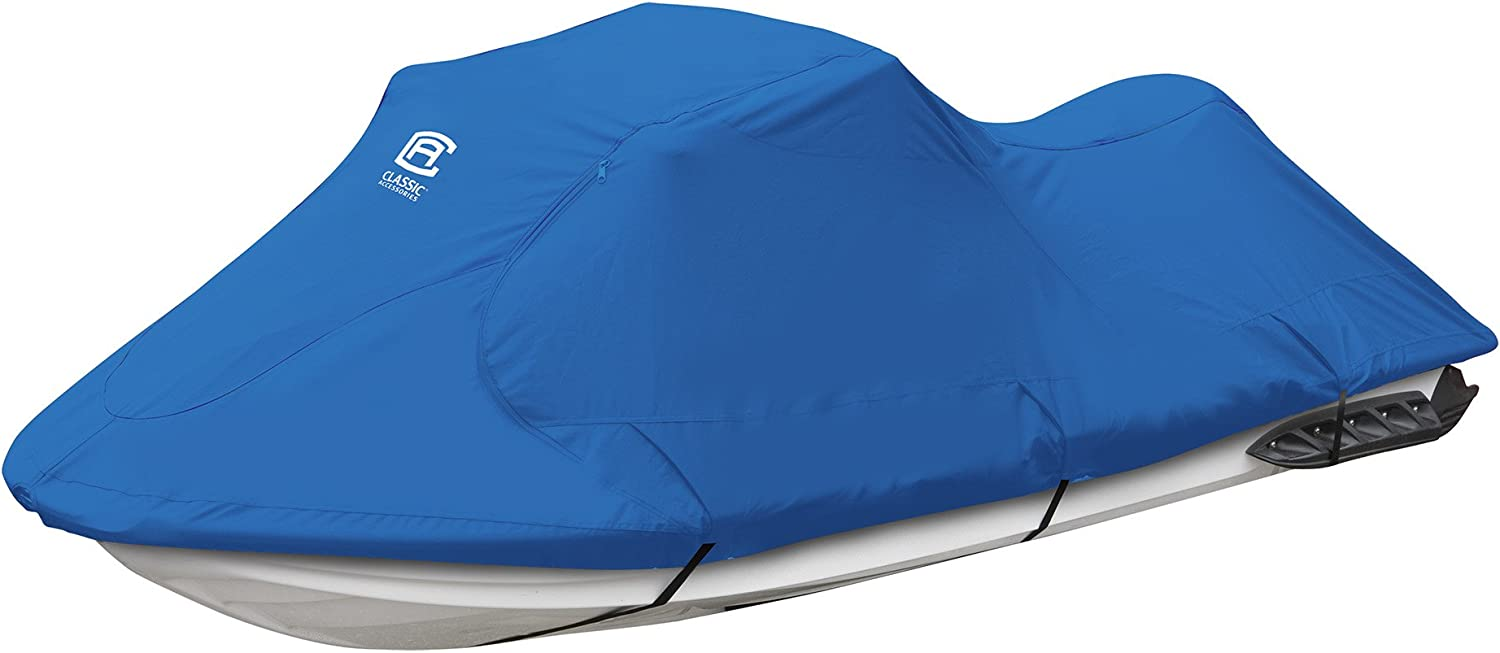 Classic Accessories Stellex Personal Watercraft Cover, Trailerable Jet Ski Cover with Polyester Fade-Resistant Fabric (Blue)