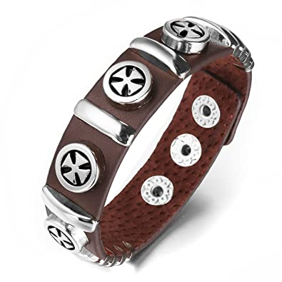 MENDINO Men/'s Alloy Leather Bracelet Cuff Pentagram Star Bangle Black Adjustable