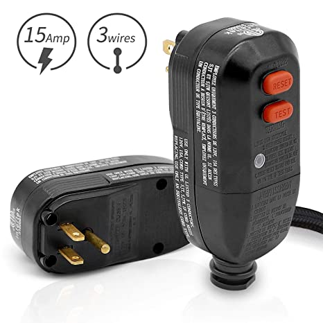 GFCI Replacement Plug embly 3-Prongs 15Amp 3-wires with Ground Fault on