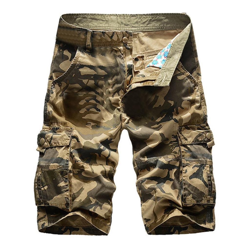 iZHH Men's Pure Color Outdoors Pocket Beach Work Trouser Cargo Shorts Pant(Khaki,31)
