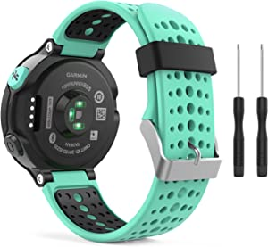 MoKo Watch Band Compatible with Garmin Forerunner 235, Soft Silicone Replacement Watch Band for Garmin Forerunner 235/235 Lite/220/230/620/630/735XT - Mint Green & Black