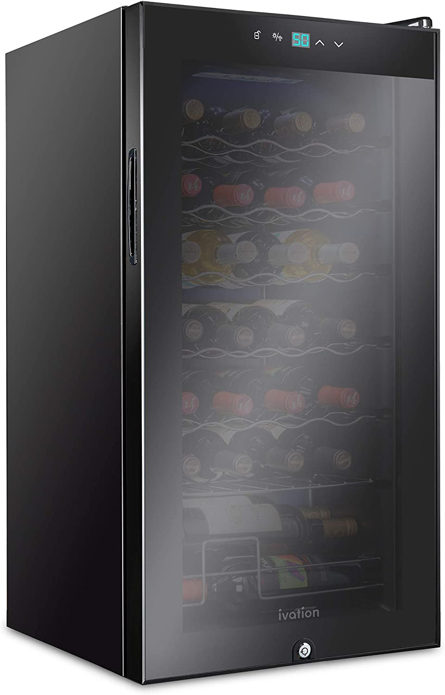 Ivation 28 Bottle Compressor Wine Cooler Refrigerator w/Lock   Large Freestanding Wine Cellar For Red, White, Champagne or Sparkling Wine   41f-64f Digital Temperature Control Fridge Glass Door Black
