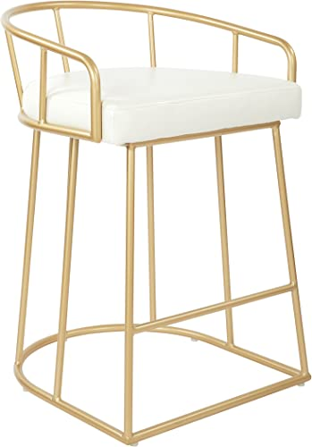 OSP Home Furnishings Luna Modern Counter Height Stool, White Faux Leather