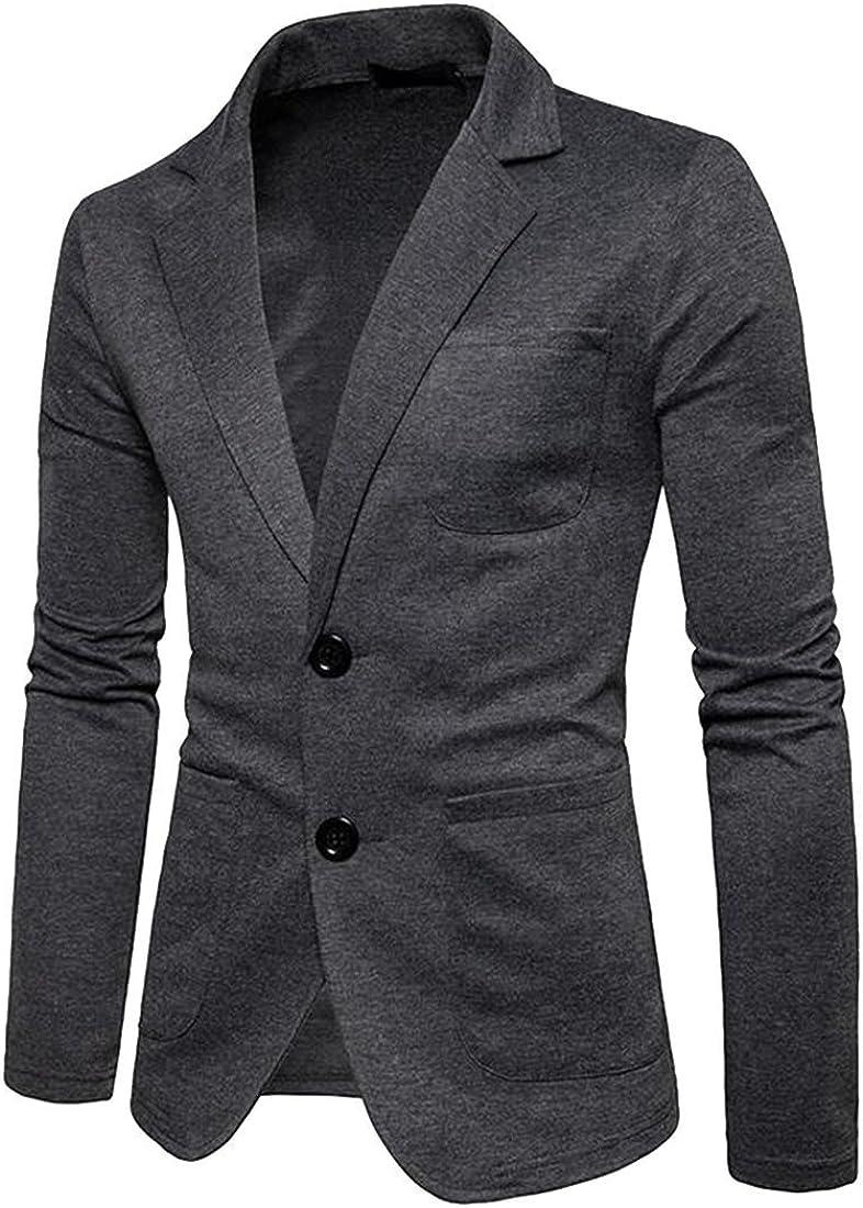 YYG Men Formal Solid Color Two Button Slim Multi-Pockets Blazer Jacket Coat