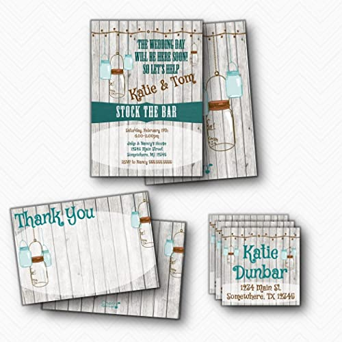 amazon com rustic mason jar stock the bar invitation set