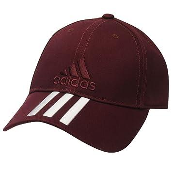 2fac6a134594d Adidas - Casquette de baseball brodée réglable de couleur bordeaux pour  hommes avec les 3 bandes