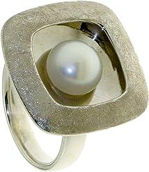 """Luxuriöser Viereckiger Perlenring mit weißer Perle, rhodiniert aus der Serie""""Aquarius"""""""