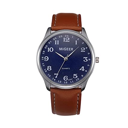 freedomer Mens Watches Top Luxury Blue Glass Watch Men Watch Waterproof PU Leather Mens Watch Male