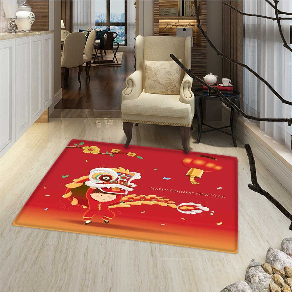Chinese New Year Door Mats Area Rug Little Boy Performing Lion Dance with the Costume Flowering Branch Lantern Floor mat Bath Mat for tub 16''x24'' Multicolor