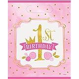 Unique Party -  Bolsas de Regalo - Fiesta de Cumpleaños para niña Rosa y Dorado - Paquete de 8 (58163)