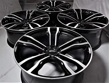 Amazon Com 22 Inch Black Staggered Wheels Rims Full Set Of 4 Fit