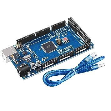 ELEGOO Mega 2560 R3 Tarjeta Placa Compatible con Arduino IDE con Microcontrolador Basada en el ATmega2560 ATmega16U2 con USB Cable Azul Versión Mega ...