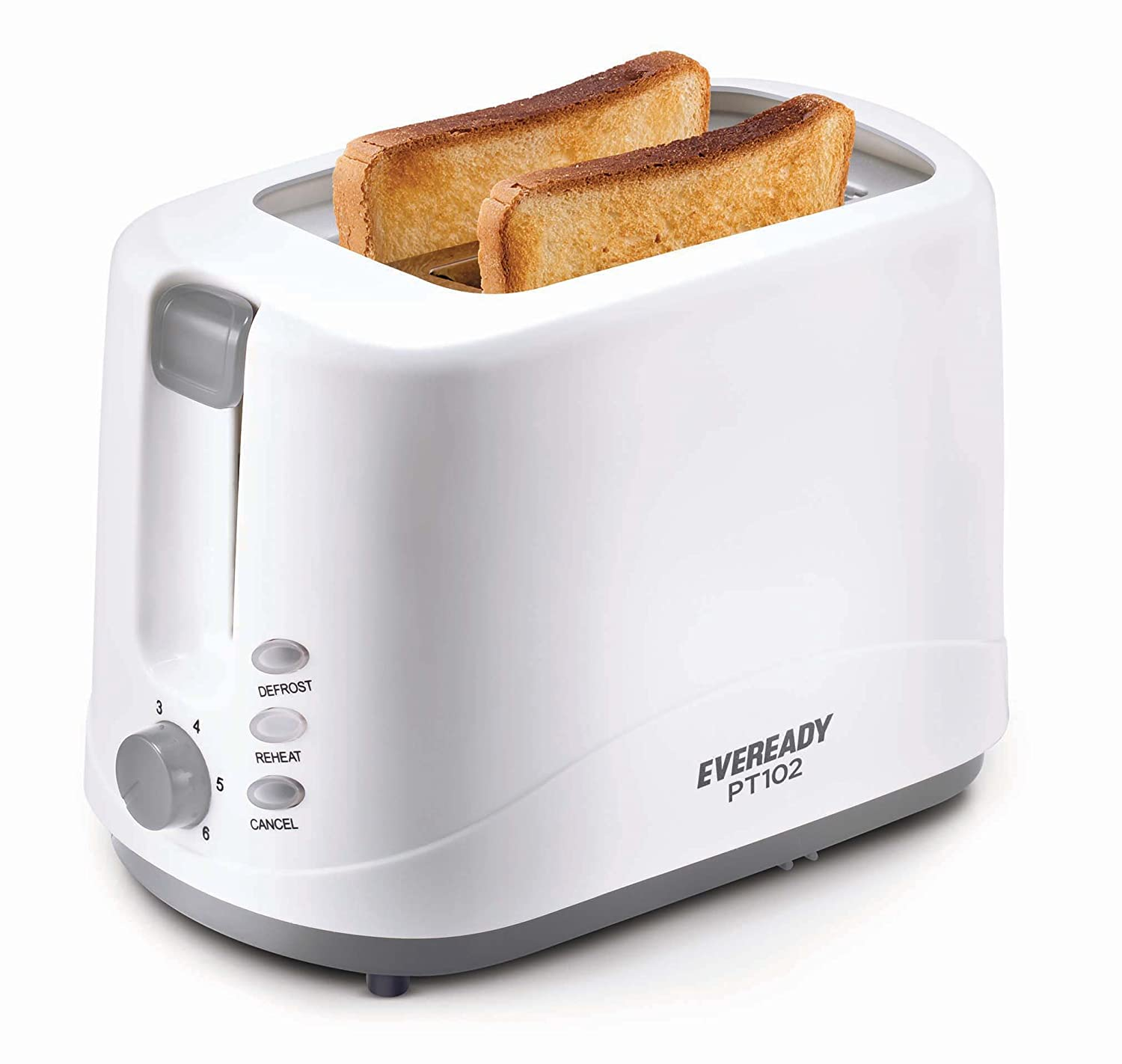 Eveready 750 Watt 2 Slice Pop Up Toster with Defrost, Reheat