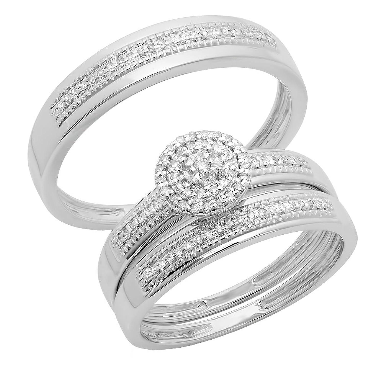 0.27 Carat (ctw) 14K White Gold Round Diamond Men & Women's Engagement Ring Trio Bridal Set 1/4 CT