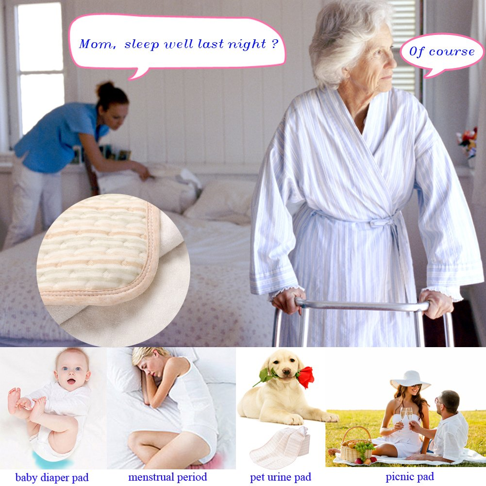 Incontinence Mattress Protector Seniors Waterproof Bed Pad The Aged Elderly Absorbent Underpads Golden Years Bed-Wetting Enuresis Spill Mat Natural Organic Cotton Washable Reusable(Color, XXXL) by LiBuy (Image #9)