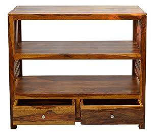 Daintree Eva 2-Draw Semi Open Book Shelf (Natural Teak, Lacquer Finish)