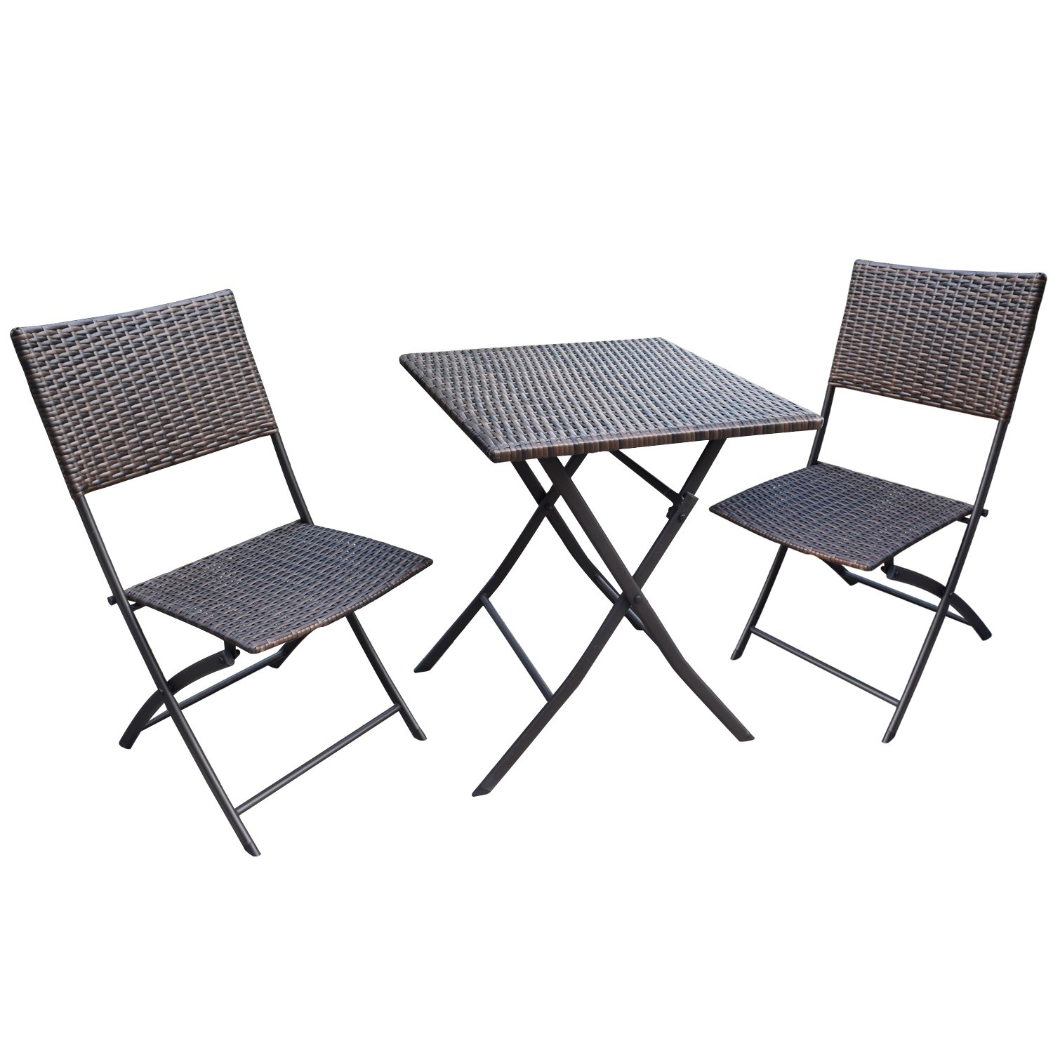 Joveco Folding Table and Chair 3-Piece Rattan Wicker Outdoor Backyard Bistro Set - (Set of Three)