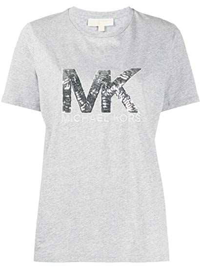Michael Kors MK Logo Sequin Tee t Shirt in Rosa Berry con