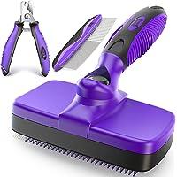 Ruff 'N Ruffus Self-Cleaning Slicker Brush Upgraded PAIN-FREE Bristles Gently Removes Loose Undercoat & Tangled Hair…