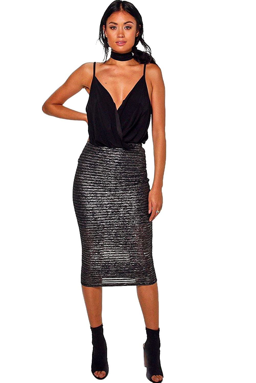 Black Womens Bella Metallic Stripe Midi Skirt